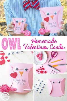 owl homemade valentines cards