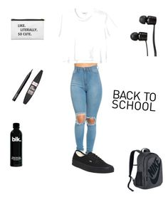 """Back to School"" by kaitlyncarter ❤ liked on Polyvore featuring Monki, Vans, NIKE, NARS Cosmetics and Maybelline"