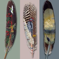 Alaskan born-and-bred artist Julie Thompson is an astounding exponent of this incredible art form. Known as feather art, this is the drawing or creation of images on feathers. Feather Painting, Feather Art, Bird Feathers, Painted Feathers, Painted Leaves, Painting Art, Feather Tattoos, Paper Feathers, Turkey Feathers