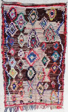 "large rag rug from Morocco called ""boucherouite or boucharouette "" berber tribal art, moroccan rag rug. Etsy."
