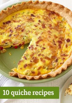 10 Quiche Recipes -- Quiche: the perfect breakfast-time or brunch pie. It& a way for eggs and cheese (and a few friends like spinach, ham, peppers, etc.) to come together and get a party going. Breakfast Desayunos, Perfect Breakfast, Breakfast Dishes, Breakfast Recipes, Breakfast Cupcakes, Quiche Recipes, Egg Recipes, Brunch Recipes, Cooking Recipes