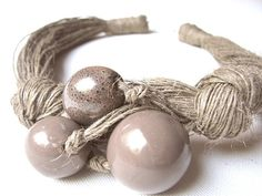 Ceramic Beige linen necklace by GreyHeartOfStone on Etsy, $32.00