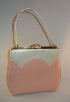 Vintage 1950s Town and Country Shoes Pearled Pink and Pearl Colored Goldtone Steel Clasp Hard Framed Purse Bag