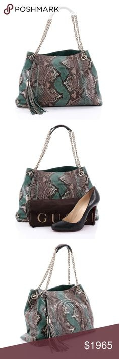 """Gucci Soho Chain Strap Shoulder Bag Python Medium Condition: Excellent. Light wear on base corners, creasing on rear near base, slight lifting on scales. Minimal wear in interior.  Accessories: Detachable tassel, dust bag.  Measurements: Handle Drop 9"""", Height 10"""", Width 14.5"""", Depth 6"""", Strap Drop 16"""" Designer: Gucci Model: Soho Chain Strap Shoulder Bag Python Medium Item Number: 25376/01 Gucci Bags Shoulder Bags"""