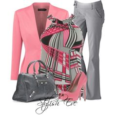 Pink and grey outfit Pink and grey outfit - Cute Adorable Baby Outfits Business Casual Outfits, Classy Outfits, Chic Outfits, Fashion Outfits, Womens Fashion, Work Fashion, Fashion Looks, Fall Fashion, Professional Dresses