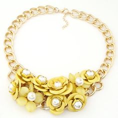 Hiphop yellow pearl decorated flower design alloy Fashion Necklaces www.asujewelry.com