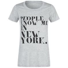 Rebecca Minkoff People Know Me In NY T-Shirt ($76) ❤ liked on Polyvore featuring tops, t-shirts, rebecca minkoff, jersey top, jersey t shirts, slogan tees y rebecca minkoff top