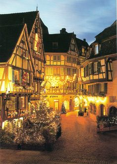 places to visit for Christmas magic: Colmar, France-looks like a real life  scene from  Beauty and the Beast