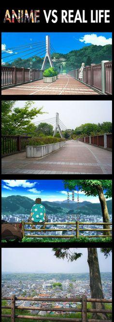 ano hana - ponte chichibu - chichibu foi a cidade que ano escolheu para retratar - e o turismo aumentou mto depois da exibição do anime . A cidade é pequena e fica a 70 km de Tóquio .