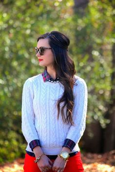 Stylish and Cute Flannel Outfit Ideas for Fall 2015 Fashion trends Cute Flannel Outfits, Cute Fall Outfits, Sweater Outfits, Stylish Outfits, Flannel Shirts, Outfits 2016, Plaid Flannel, Sweater Shirt, Winter Mode Outfits