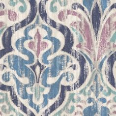 Flamenco (320744) - Eijffinger Wallpapers - A stunning water colour effect background, with a blue and purple all over damask design, with metallic highlights. Please ask for sample for true colour match. Paste-the-wall product.