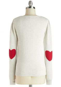 We're Young at Heart Sweater: Love is either in your life on its way or in the shape of a red felt heart on the elbows of your cotton knit sweater! In your heather-grey pullover with slig… The Cardigans, Heart Sweater, Vogue, Young At Heart, Look At You, Up Girl, Vintage Sweaters, Swagg, Look Cool
