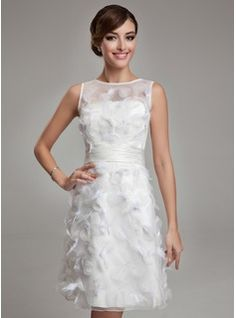 Tubo Decote redondo Joelho de comprimento Organza de Cetim Vestido de noiva com Pena (002011489) - JJsHouse