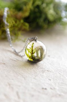 Pixie-Cup Lichen and Moss Necklace - pixie resin jewelry - woodland sphere pendant