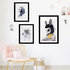 Modern Nordic Rabbit Girls Poster Cartoon Wall Pictures Canvas Painting No Framed Kids Room Decor Modular pictures posters