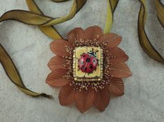 Bead Embroidery Lady Bug Pendant / Necklace