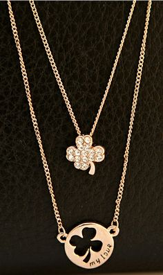 Clover double layer necklace 28202 #AhaiShopping
