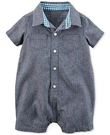 Carter's Baby Boys' Chambray Button-Front Romper