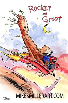 Artist Mike S. Miller has taken three pieces of classic Calvin & Hobbes art and put Rocket Raccoon and Groot in the place of the two classic comic characters.