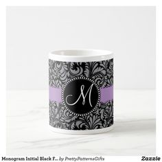 Monogram Initial Black Floral Damask Purple Ribbon Coffee Mug Initial Coffee Mugs, Purple Ribbon, Monogram Initials, Custom Mugs, Coffee Travel, Damask, Tea Cups, Tableware, Floral