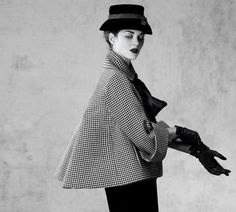 Marion Cotillard wearing vintage Dior Haute Couture    Aventure outfit, jacket with black and white houndstooth, pencil skirt in black wool  Haute Couture collection Spring-Summer 1948