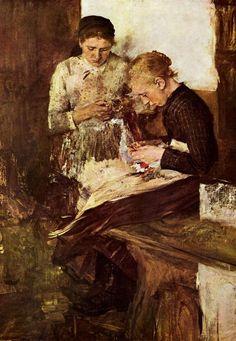 Wilhelm Leibl - Strickende Mädchen auf der Ofenbank 1895
