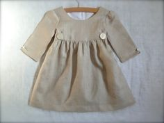 Natural Linen Dress with Vintage Mother of by HarrietsHaberdashery