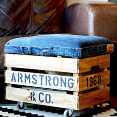 Make this nifty ottoman out of an old pair of jeans and a crate from Ikea. Not only looks good but handy storage too!
