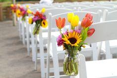Mason jar flowers, country wedding, bright wedding, wedding flowers, tulips, tulips wedding
