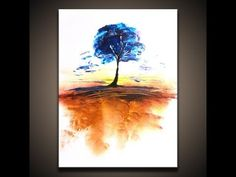 """How to paint landscape abstract art painting of a tree """"Timeless"""" techniques by Dranitsin - YouTube"""