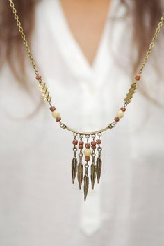 Gypsy set of necklace and earrings Hippie feather by Estibela