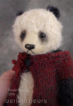 Panda Pudding Mohair Artist Teddy Bear from by aerlinnbears