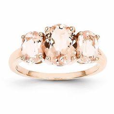 14k Rose Gold 3 Stone Morganite Ring – Sparkle & Jade