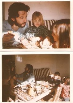 Paul eating, composing and watching the kids on holiday in in late 1968. Again the photographer is most likely Linda.