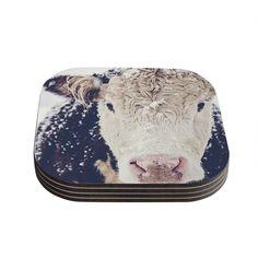 Kess InHouse Debbra Obertanec 'Snowy Cow' Black White Coasters