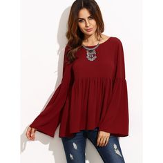 SheIn(sheinside) Burgundy Bell Sleeve Cutout Back Babydoll Blouse (410 CZK) ❤ liked on Polyvore featuring tops, blouses, flutter sleeve top, bell sleeve blouse, embellished blouse, babydoll blouse and ruffle sleeve blouse