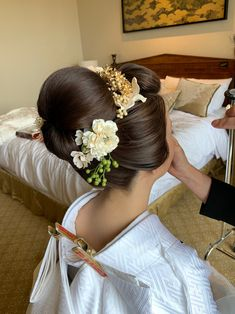 Bun Hairstyles, Wedding Hairstyles, Updo Styles, Hair Styles, Traditional Hairstyle, Oriental Dress, Japanese Wedding, Hair Ornaments, Perm