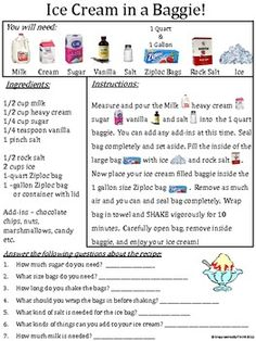 Cheap Summer Activities For Kids: Here is a basic recipe for how to make ice cream in a ziploc bag. Recipe has vis. Teaching Science, Science Activities, Summer Activities, Science Experiments, Science Centers, Preschool Science, Food Science, Science Projects, Educational Activities