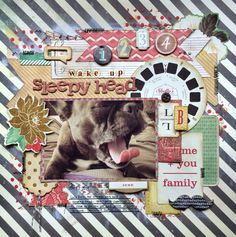 #papercraft #scrapbook #layout. wake up, sleepy head - Scrapbook.com - You don't need to use pet-themed papers to scrapbook your furry friends :)