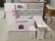 Girls Play Kitchen, Diy Kids Kitchen, Kitchen Sets For Kids, Ikea Play Kitchen, Painting Kids Furniture, Baby Doll Furniture, Elegant Bedroom Design, Girl Bedroom Designs, Toy Kitchen Accessories