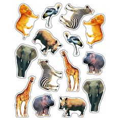 Take your class on an amazing animal adventure with the Wild Animals of the Serengeti shape stickers. Each acid free and lignin free sticker comes in die-cut shapes and is approx. 1 inch x 1 inch. Eig