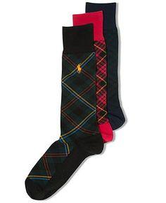 Polo Ralph Lauren Men's Socks, Casual Holiday Plaid Crew Socks  #dominomag #pintowin