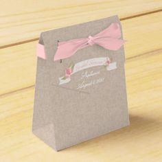 Pink Tulip Banner, Bridal Shower Party Favor Boxes