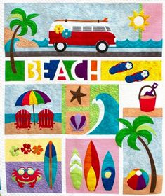 BEACH BREAK Laser Cut Kit Pattern by Patricia Frei for Quilted Works This colorful, happy quilt is a Quilted Works original pattern. You will find it fun to make and all applique pieces are LASER CUT Tropical Quilts, Coastal Quilts, Hawaiian Quilts, Strip Quilts, Mini Quilts, Quilt Blocks, Quilting Projects, Quilting Designs, Quilting Ideas