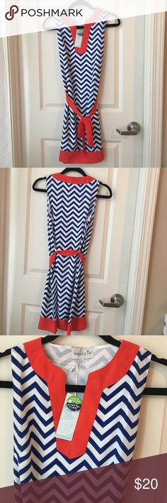 Navy and red game day dress NWT Cute dress for game day or Sunday brunch shift style dress with ribbon Dresses