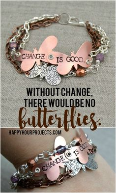 """""""Change is Good"""" Butterfly Stamped Mixed Media Bracelet"""