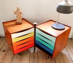 We're suckers for mixing wood and colour it's a top retro look.  Finn Juhl is a master.