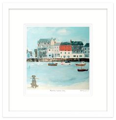Padstow Harbour Dog Framed at Whistlefish - handpicked contemporary & traditional art that is high quality & affordable. Available online & in store