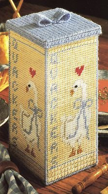 Plastic canvas needlepoint pattern - Cracker box container cover with duck