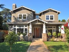 This with my front porch, attached garage around back, and lots of trees around (not neighbors). I adore Craftsman-style homes!